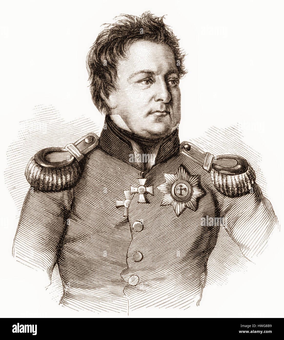 August Wilhelm Antonius Graf Neidhardt von Gneisenau, 1760 - 1831, a Prussian Field Marshal - Stock Image