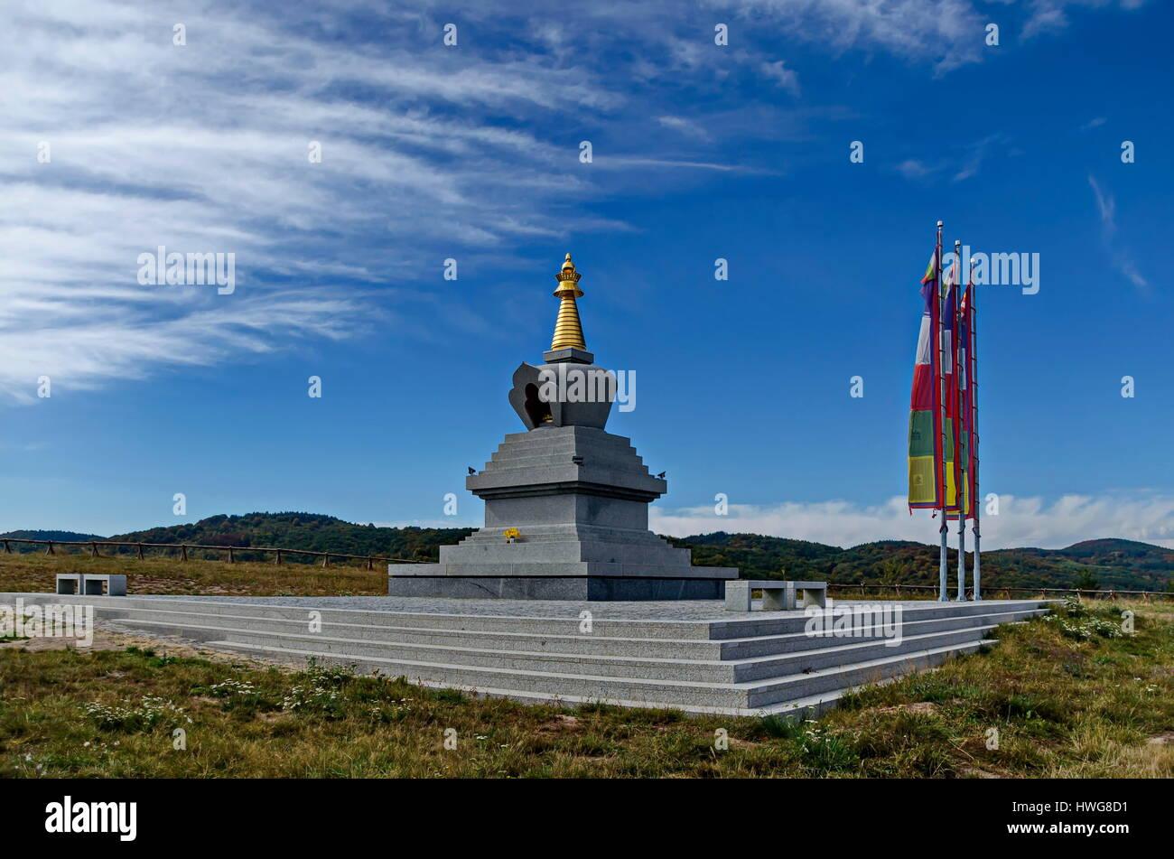 View of Buddhist stupa Sofia in the Retreat Center Plana - Diamondway Buddhism Bulgaria - Stock Image