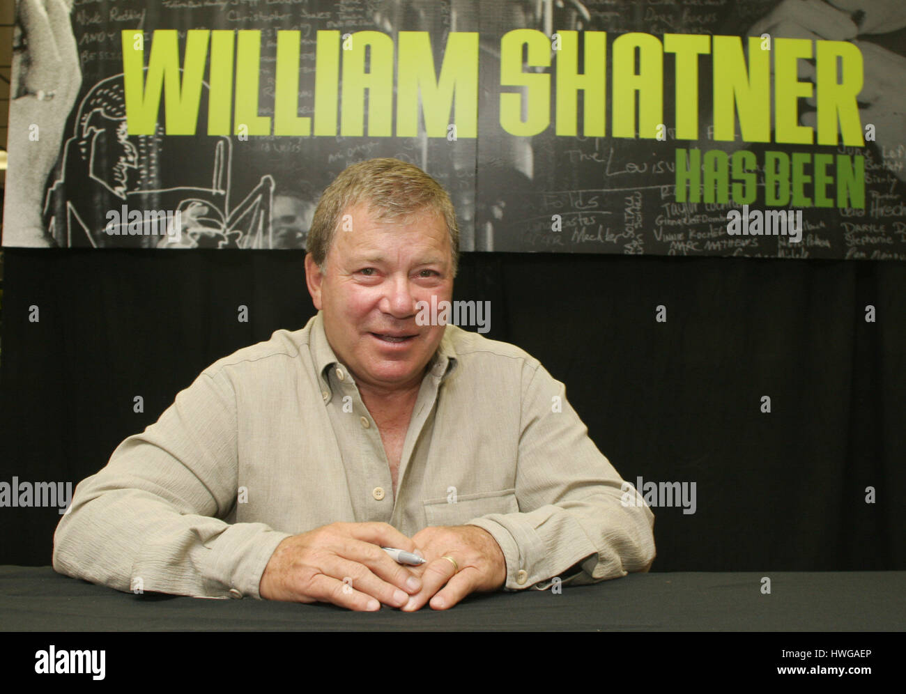 Actor William Shatner poses for photographers during a promotion of his new music album, ' Has Been. Better to be Stock Photo