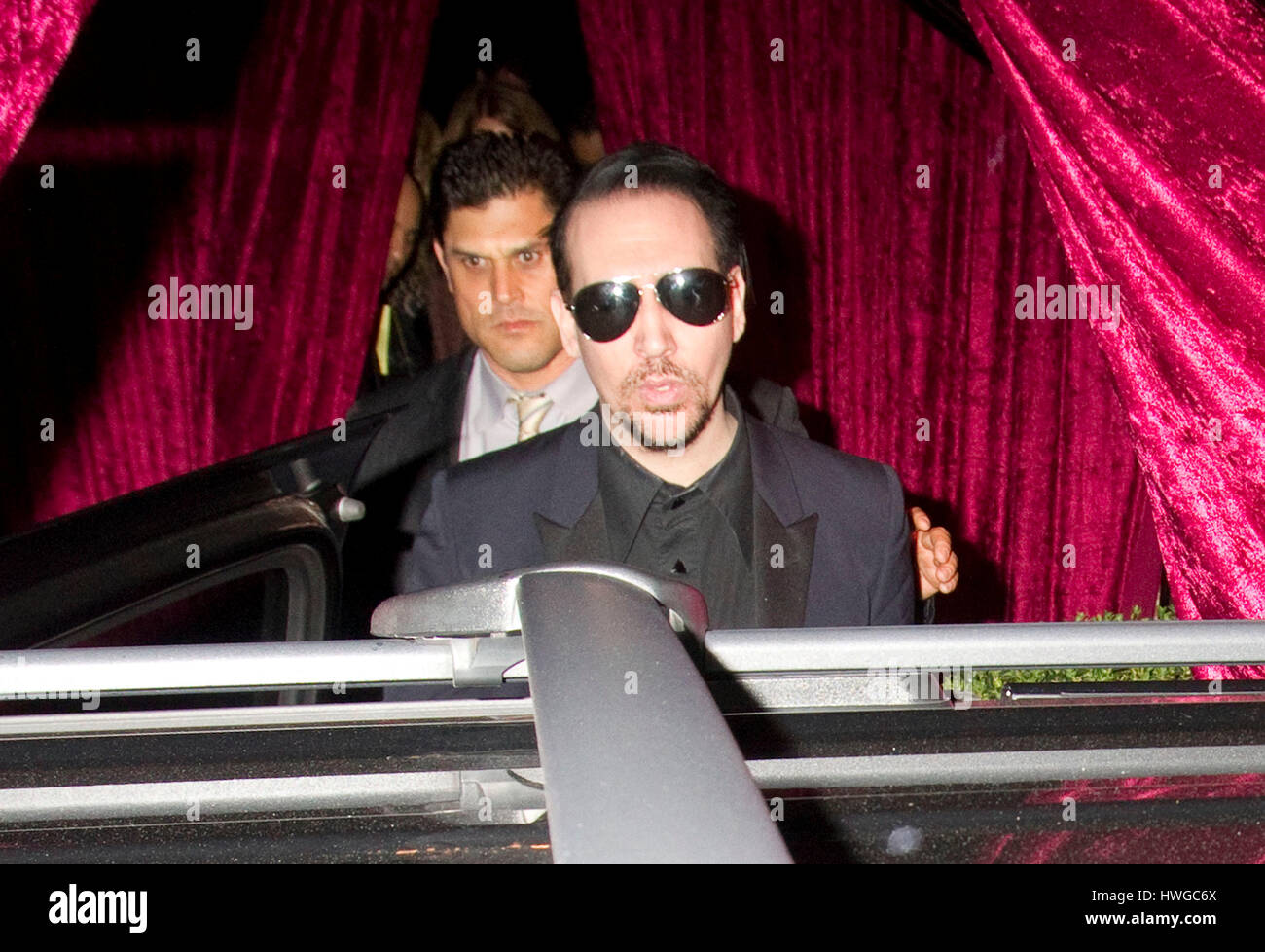 Marilyn Manson attends an engagement  party for Johnny Depp and Amber Heard on March 15, 2014 in Los Angeles, California. - Stock Image