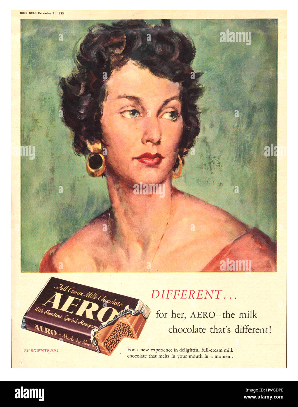 1955 Magazine advertisement for Rowntree Aero Milk Chocolate bar - Stock Image