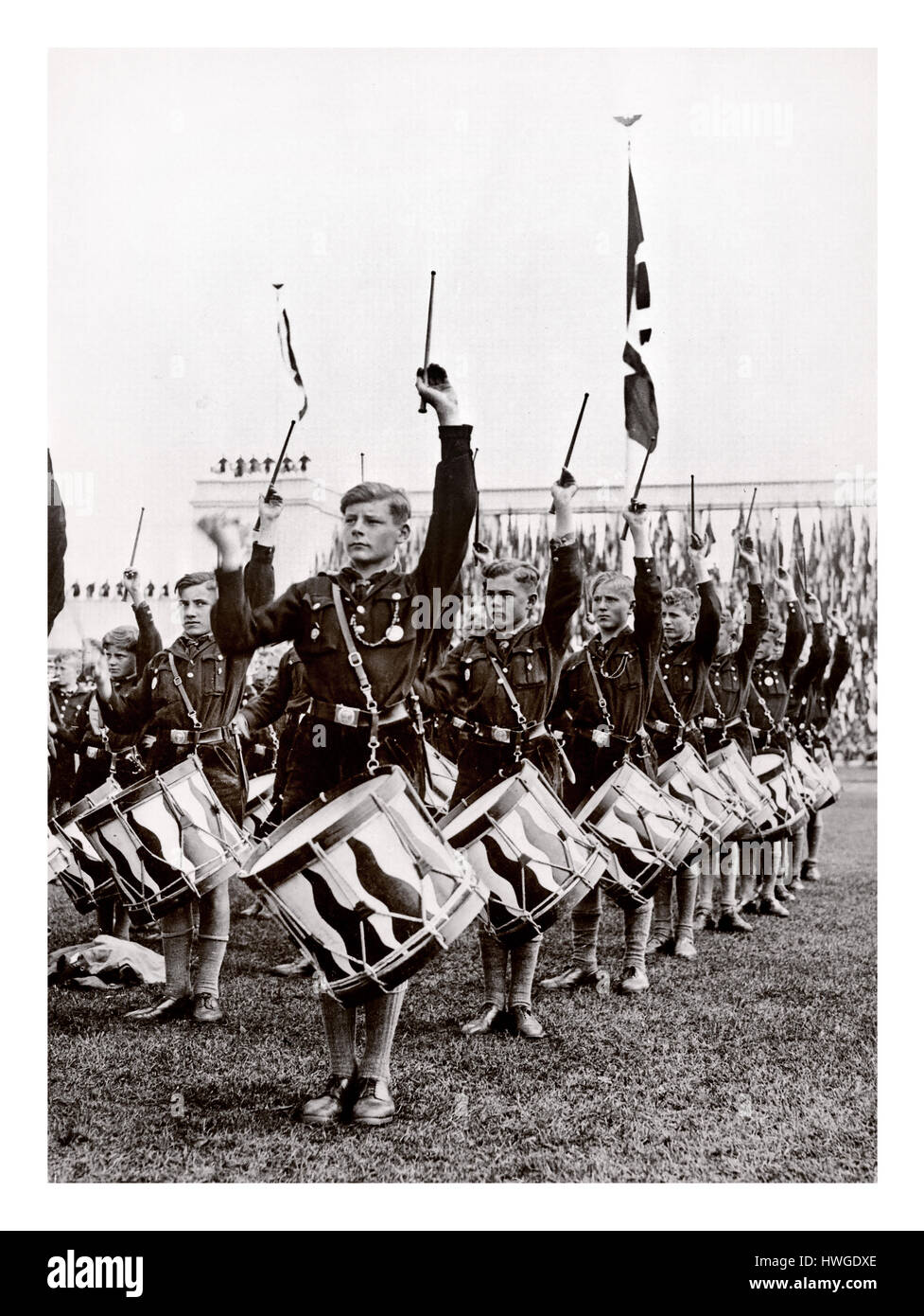 Hitler Youth boy drummers on parade in Zeppelin Field Nuremberg for rallying speeches from Adolf Hitler Sept 14th - Stock Image