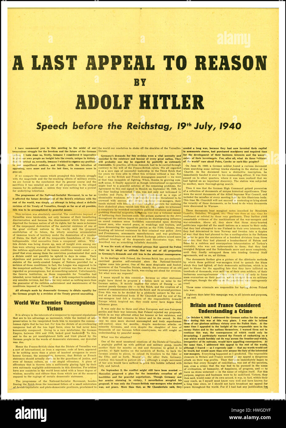 Speech by Adolf Hitler to Reichstag 19th July 1940 to justify his aggressive warmongering  'Last Appeal To Reason' - Stock Image