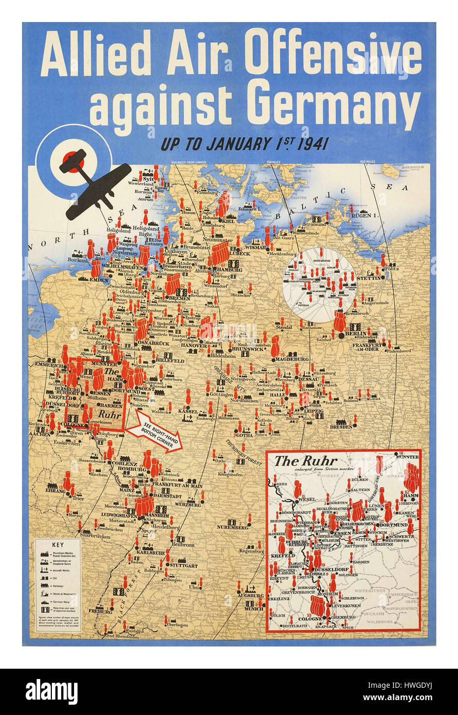 1941 Vintage retro poster WW2 map detailing locations of various allied air attacks throughout Germany during World - Stock Image