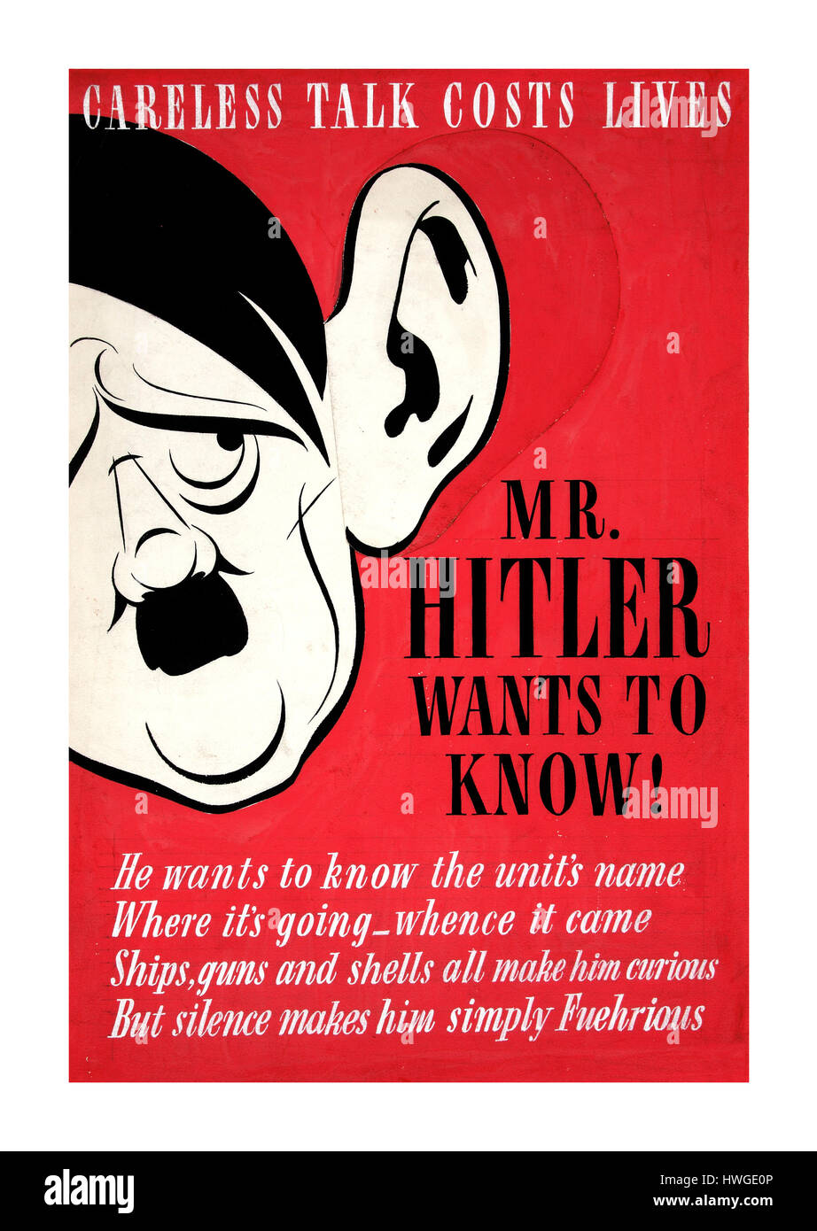 1940's WW2 propaganda poster featuring Hitler listening in to careless conversations 'Careless Talk Costs - Stock Image