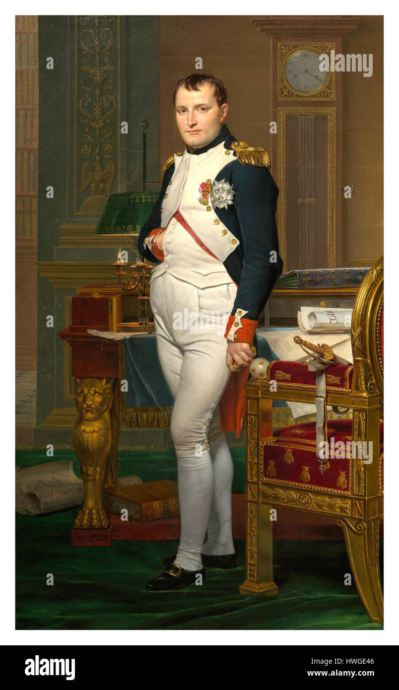 The Emperor Napoleon in his Study at the Tuileries Paris France 1812 painting by Jacques-Louis David - Stock Image