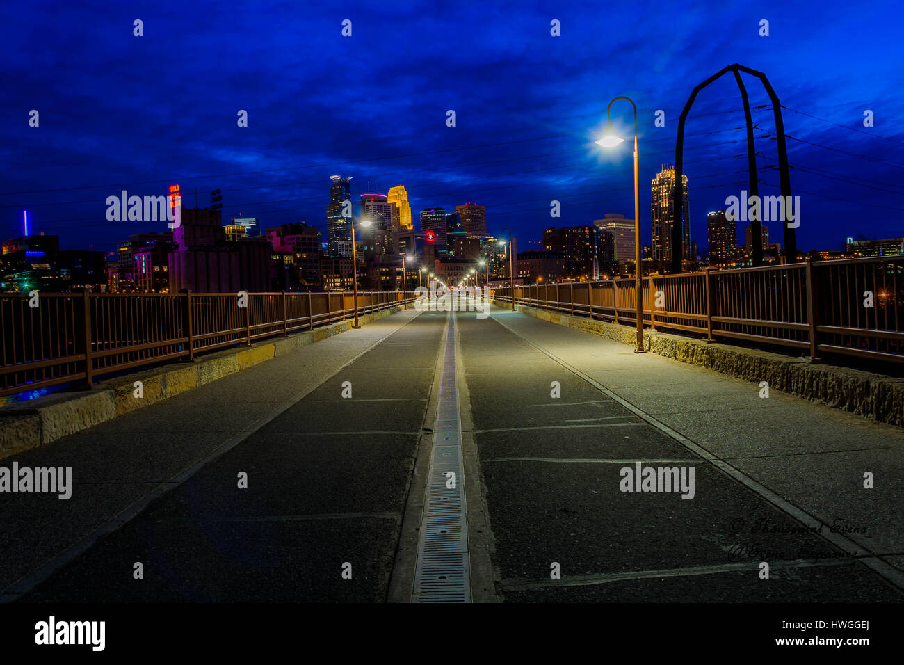 Chicago city scape at night - Stock Image