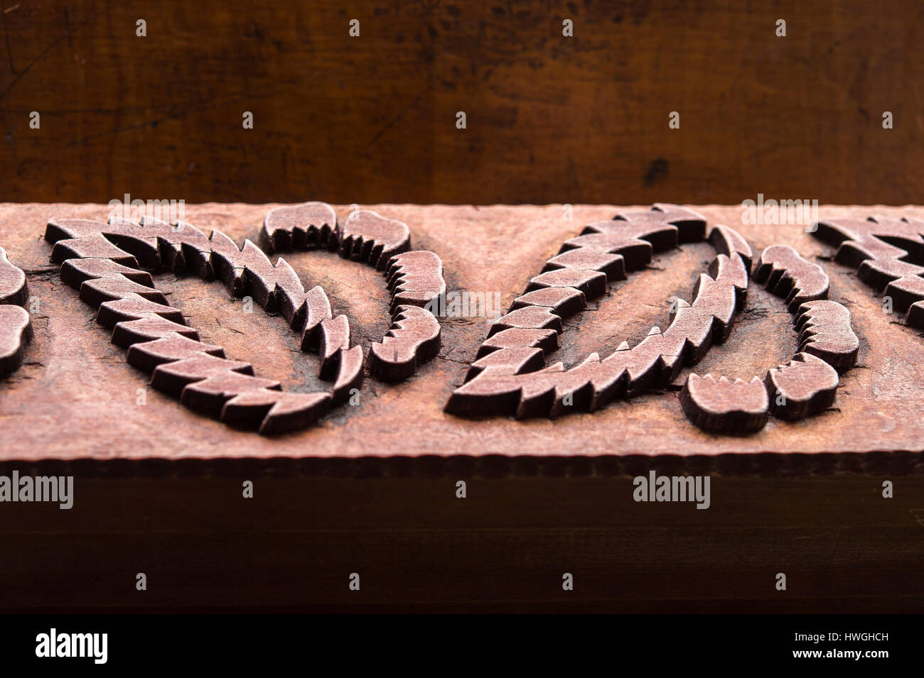 Block printing, woodblock with pattern made of wood, Bad Aussee, Styria, Austria - Stock Image
