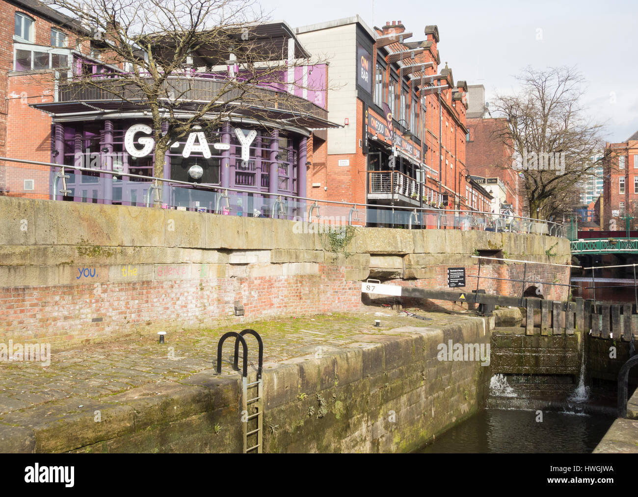 Canal street in Manchester`s Gay village. Manchester, England. UK - Stock Image