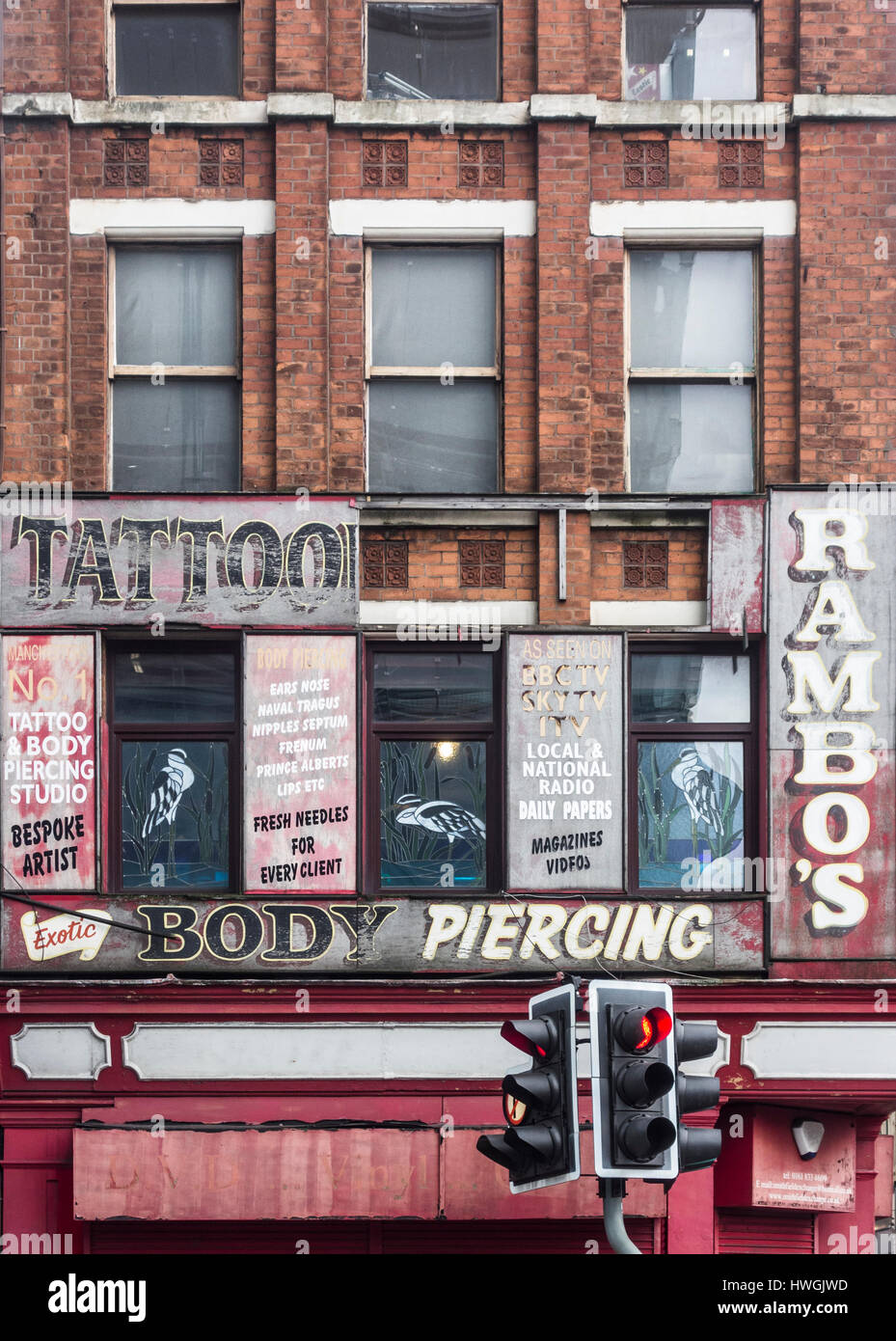 Rambo`s tattoo studio in Manchester. UK - Stock Image