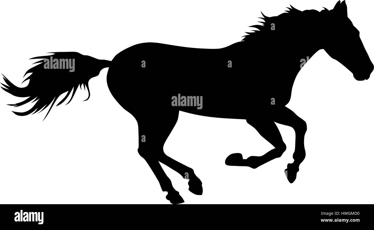 Vector Illustration Of Running Horse Silhouette Stock Vector Image Art Alamy