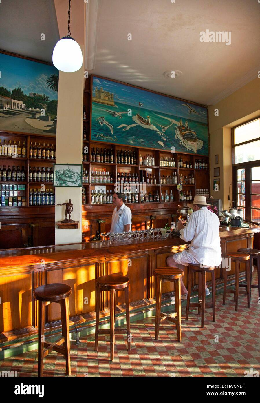 Cuba Cojimar Terraza De Cojimar Man At The Counter Of The