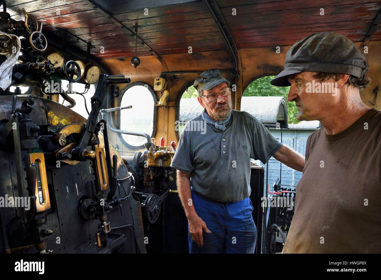 France, Alpes Maritimes, Puget Theniers, steam engine warming up, Daniel Bonneau (engineer and therefore train driver) Stock Photo
