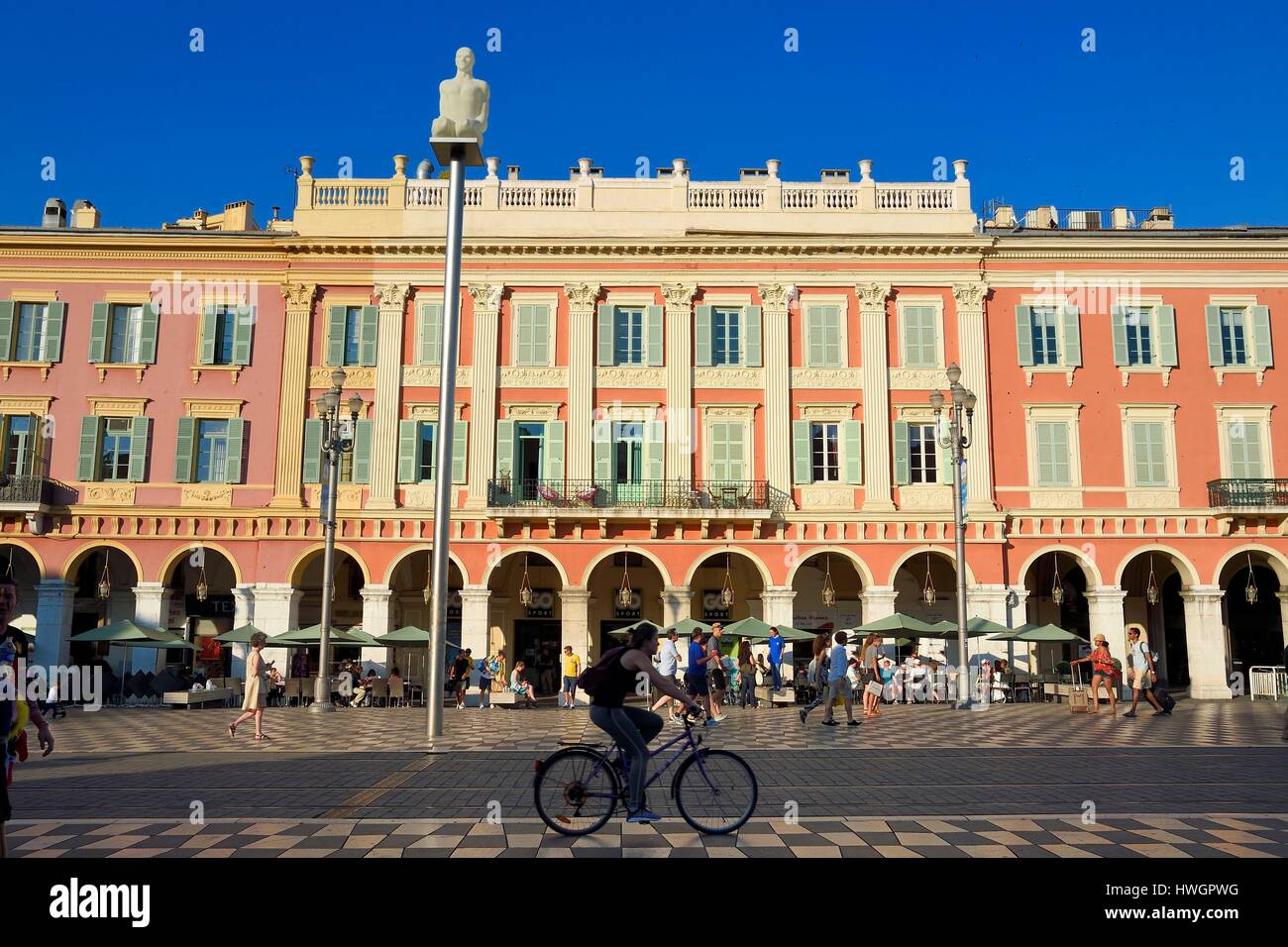 France, Alpes Maritimes, Nice, Old Town, Place Massena, statues by Jaume Plensa - Stock Image