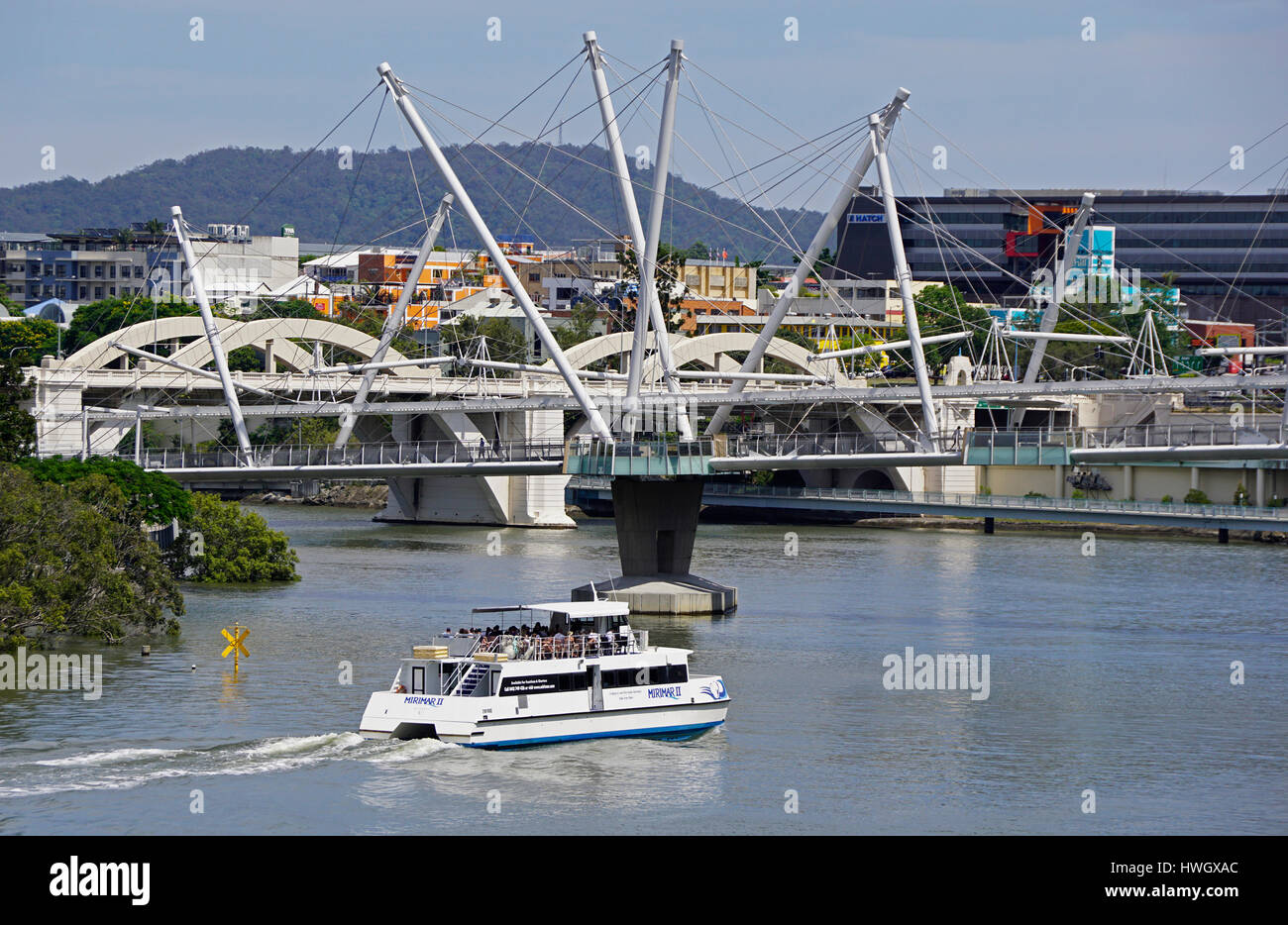 Harbor Bridge for pedestrians over Brisbane River, Brisbane, Queensland, Australia. - Stock Image