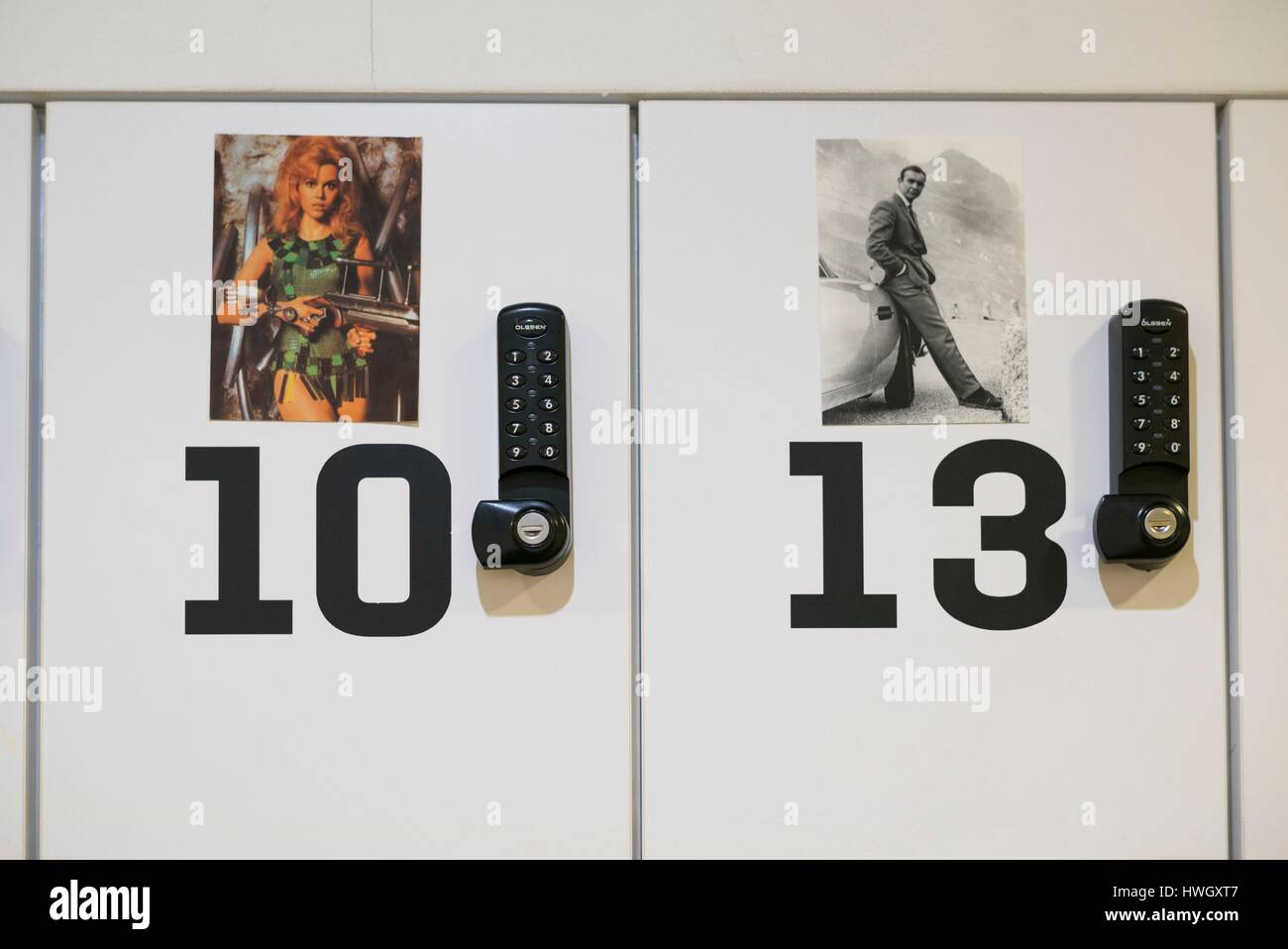 Netherlands, Amsterdam, Eastern Docklands, Eye Film Institute, cinema-themed lockers, Jane Fonda and Sean Connery - Stock Image