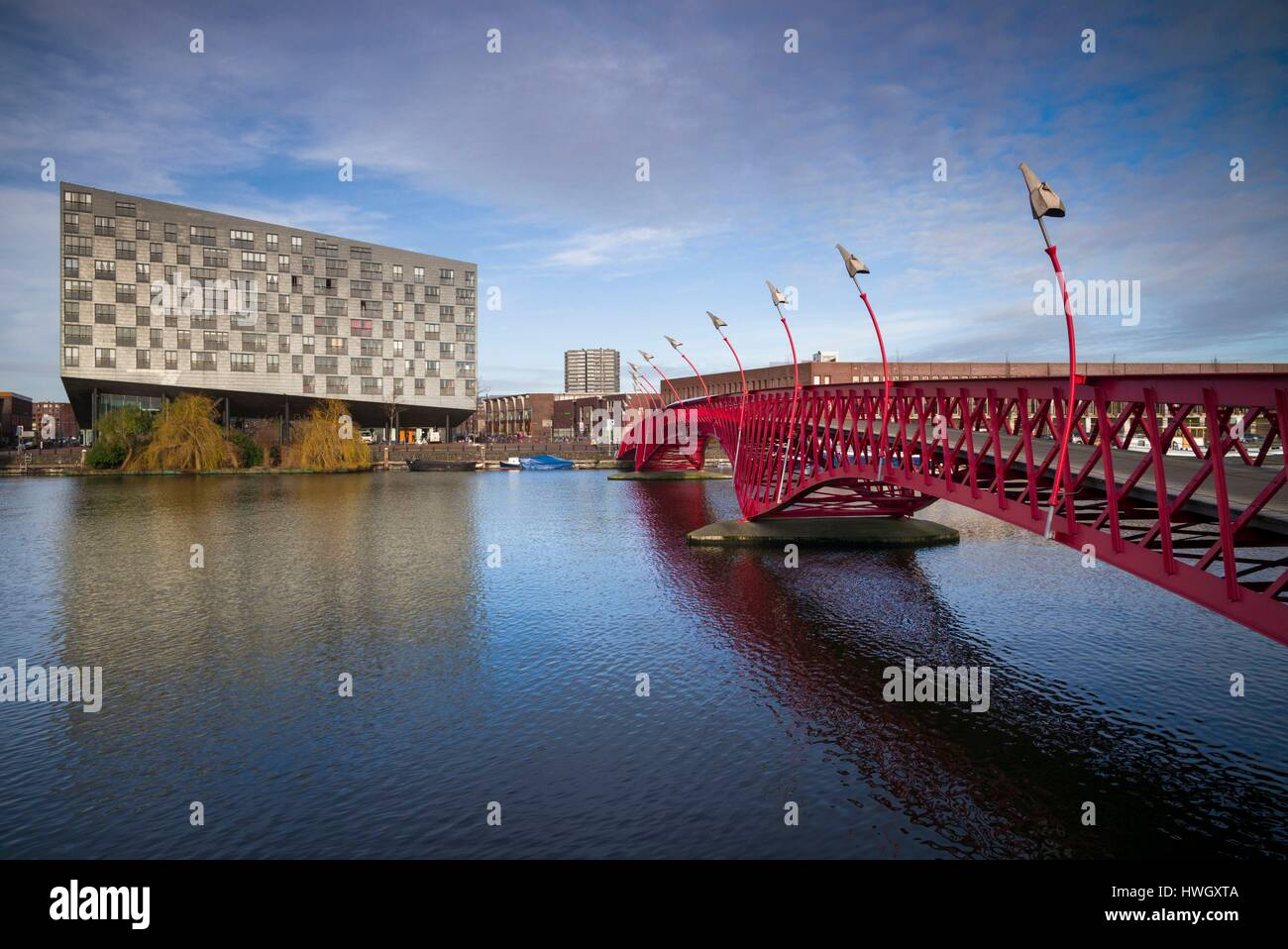 Netherlands, Amsterdam, Eastern Docklands, Spoorweg-bassin with The Whale Building and renovated docklands area - Stock Image