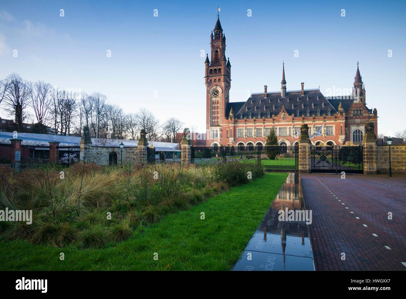 Netherlands, The Hague, Vredespaleis, Peace Palace, seat of the UN International Court of Justice, building donated - Stock Image