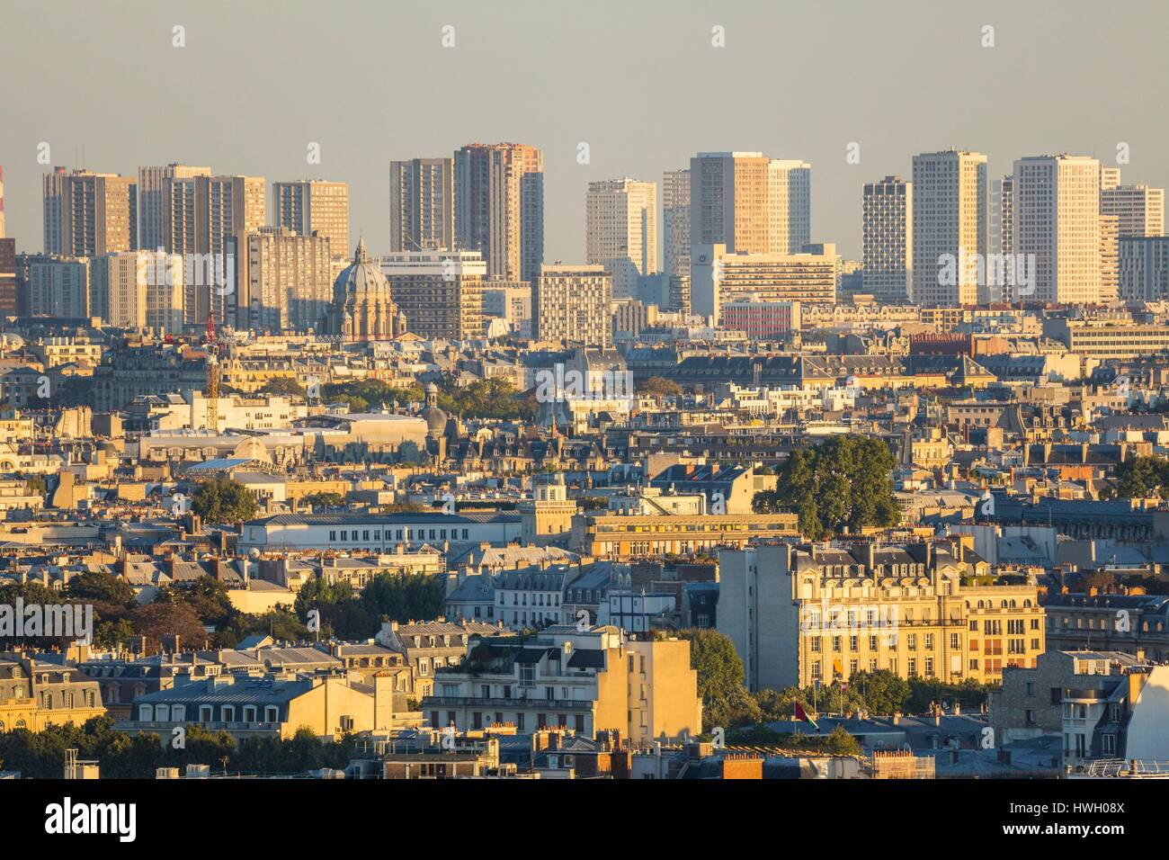 France, Paris, general view with the towers of the 13th arrondissements - Stock Image
