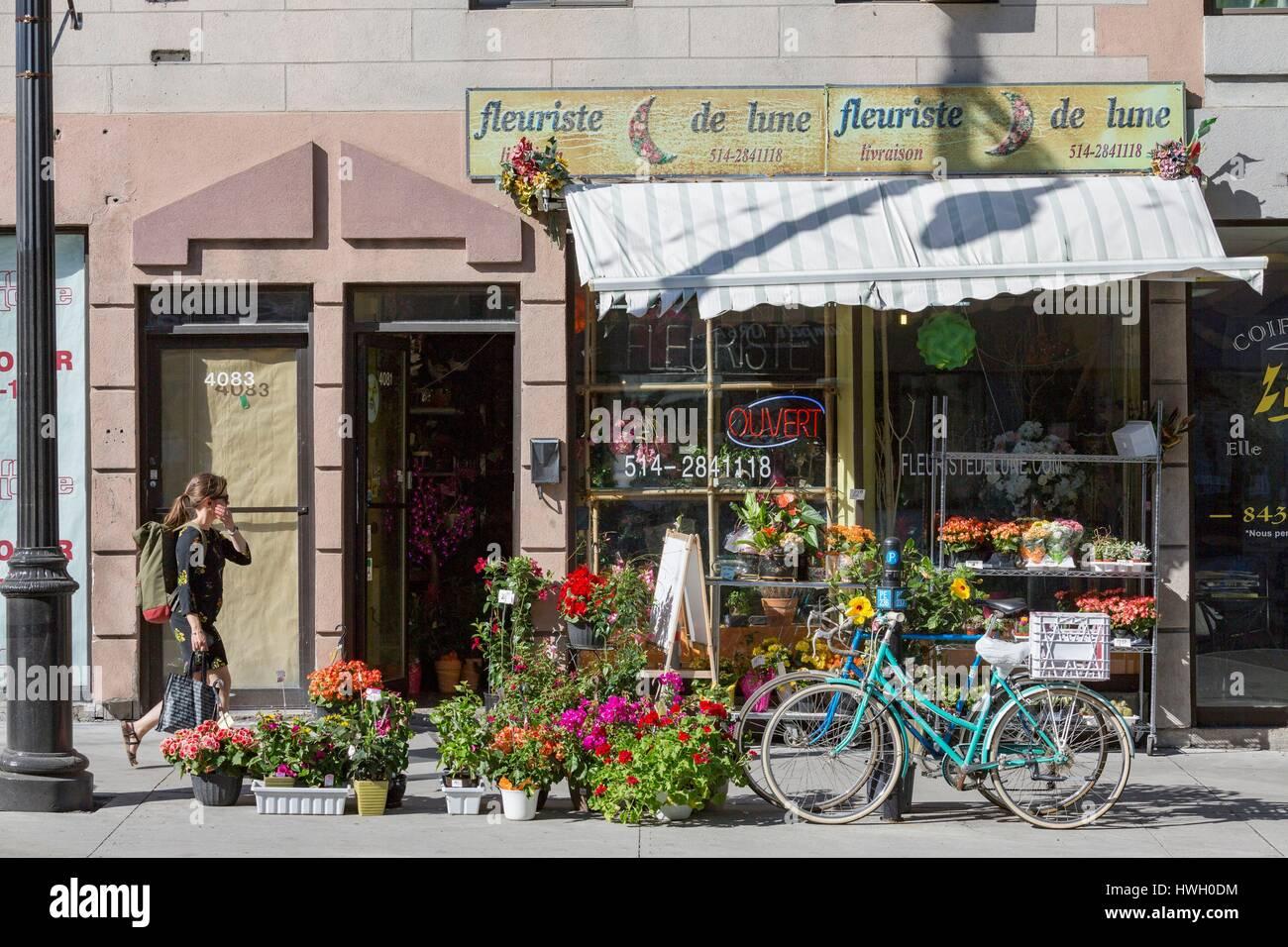 Canada, Quebec province, Montreal, Plateau Mont Royal, boulevard Saint Laurent, De Lune florist - Stock Image