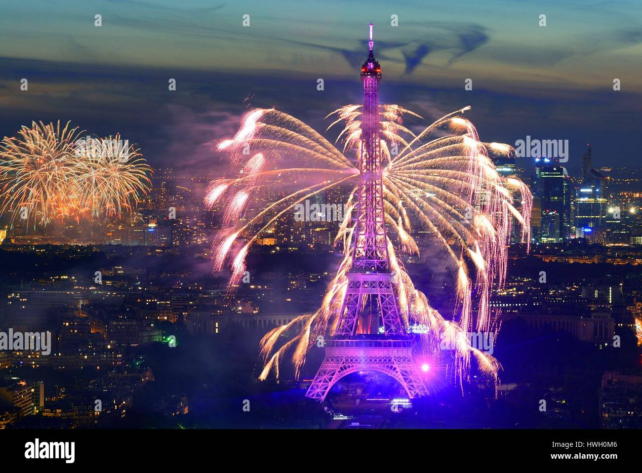 france, paris, the eiffel tower and the fireworks of the national