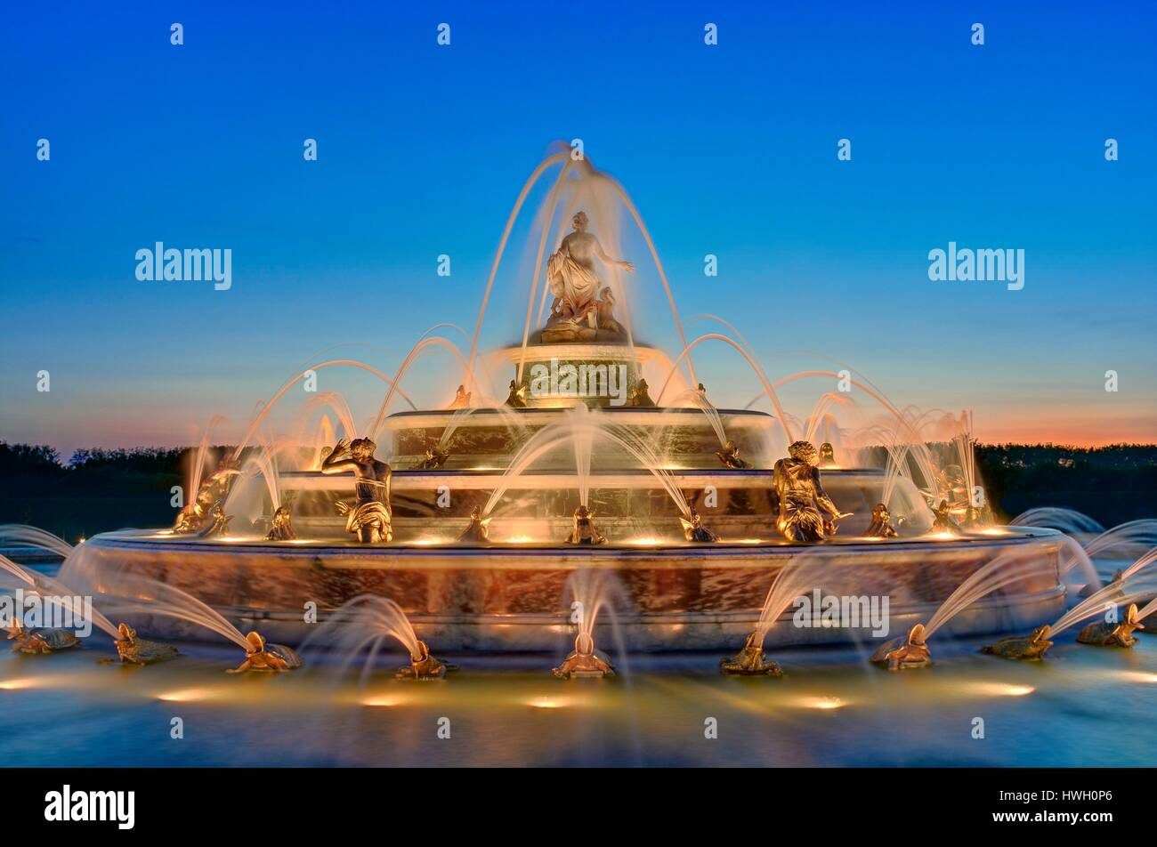 France, Yvelines, Versailles, gardens of the palace of Versailles listed as World Heritage by UNESCO, Latona fountain - Stock Image