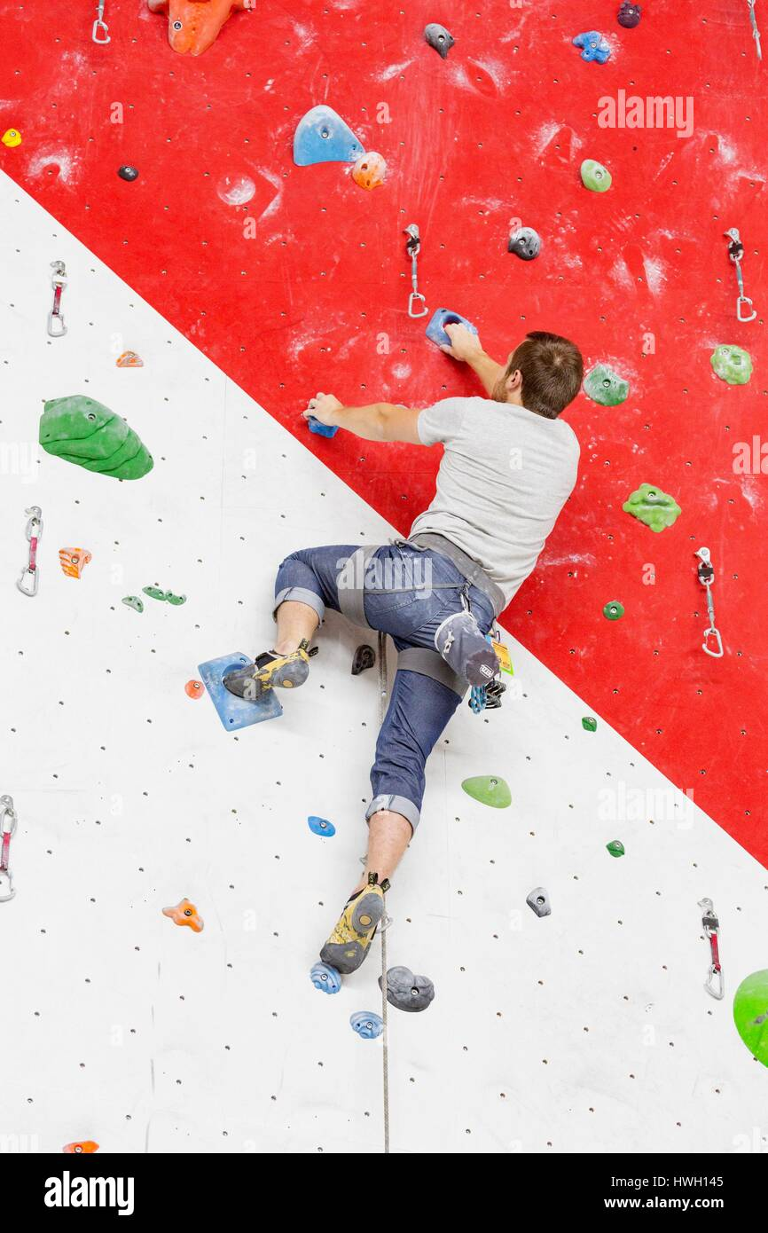 Canada, Quebec province, Mauricie region, Trois Rivieres, Maikan Adventure, indoor climbing wall - Stock Image