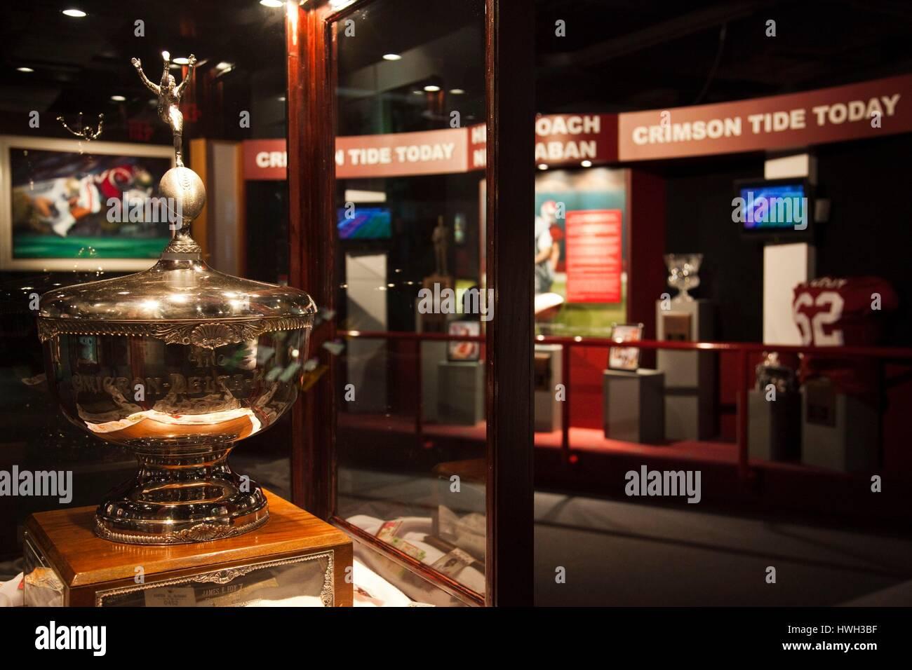 United States, Alabama, Tuscaloosa, University of Alabama, Paul 'Bear' Bryant Museum, memorabilia of famous - Stock Image