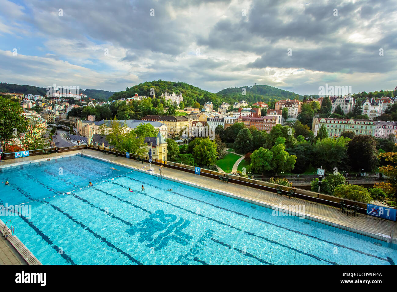 Karlovy Vary, Czech Republic - September 13, 2013: Outdoor swimming poll in the Thermal Hotel - Stock Image