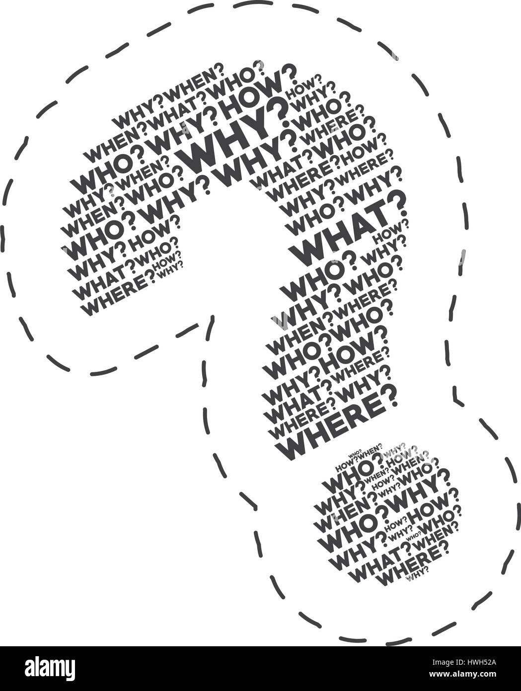 question mark words image - Stock Image