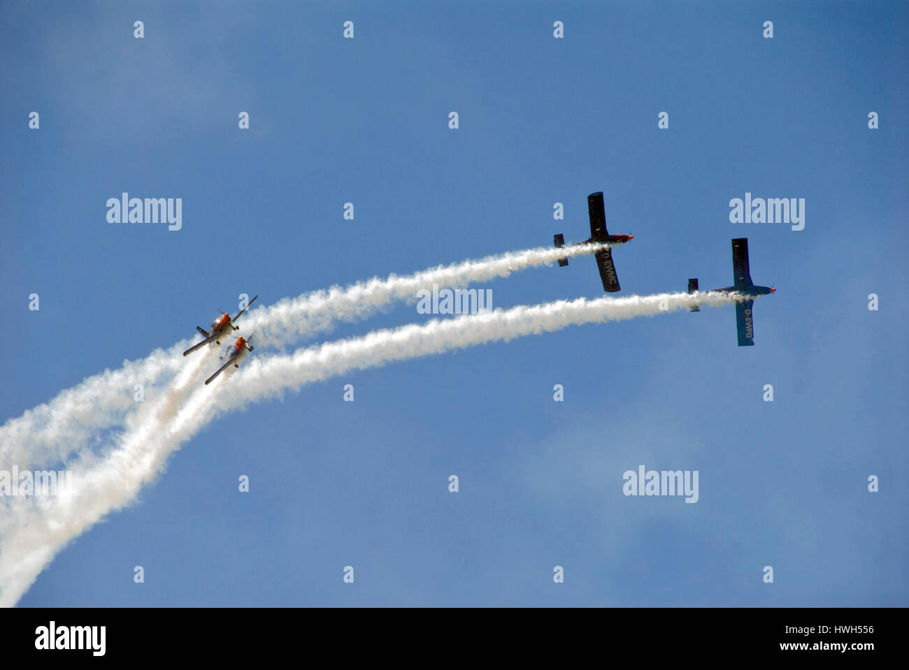 The Blackbirds performin in their aircrafts - Zlin 42 - at Sola Airshow 2007. - Stock Image