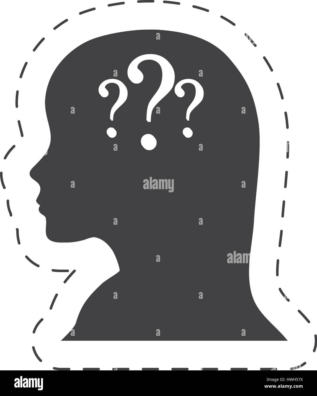 silhouette female head question mark Stock Vector