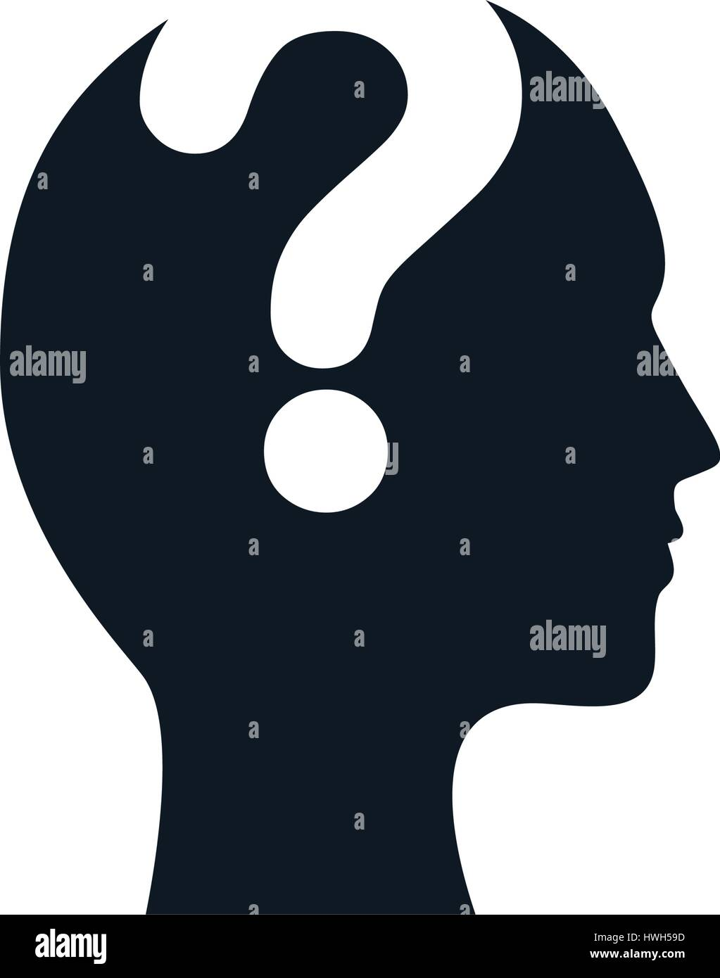 silhouette head question mark image Stock Vector