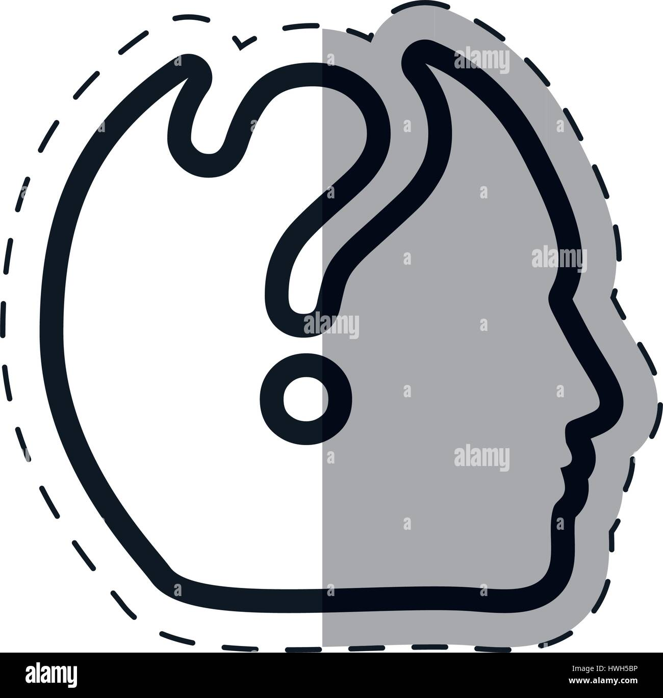 silhouette head question mark outline Stock Vector