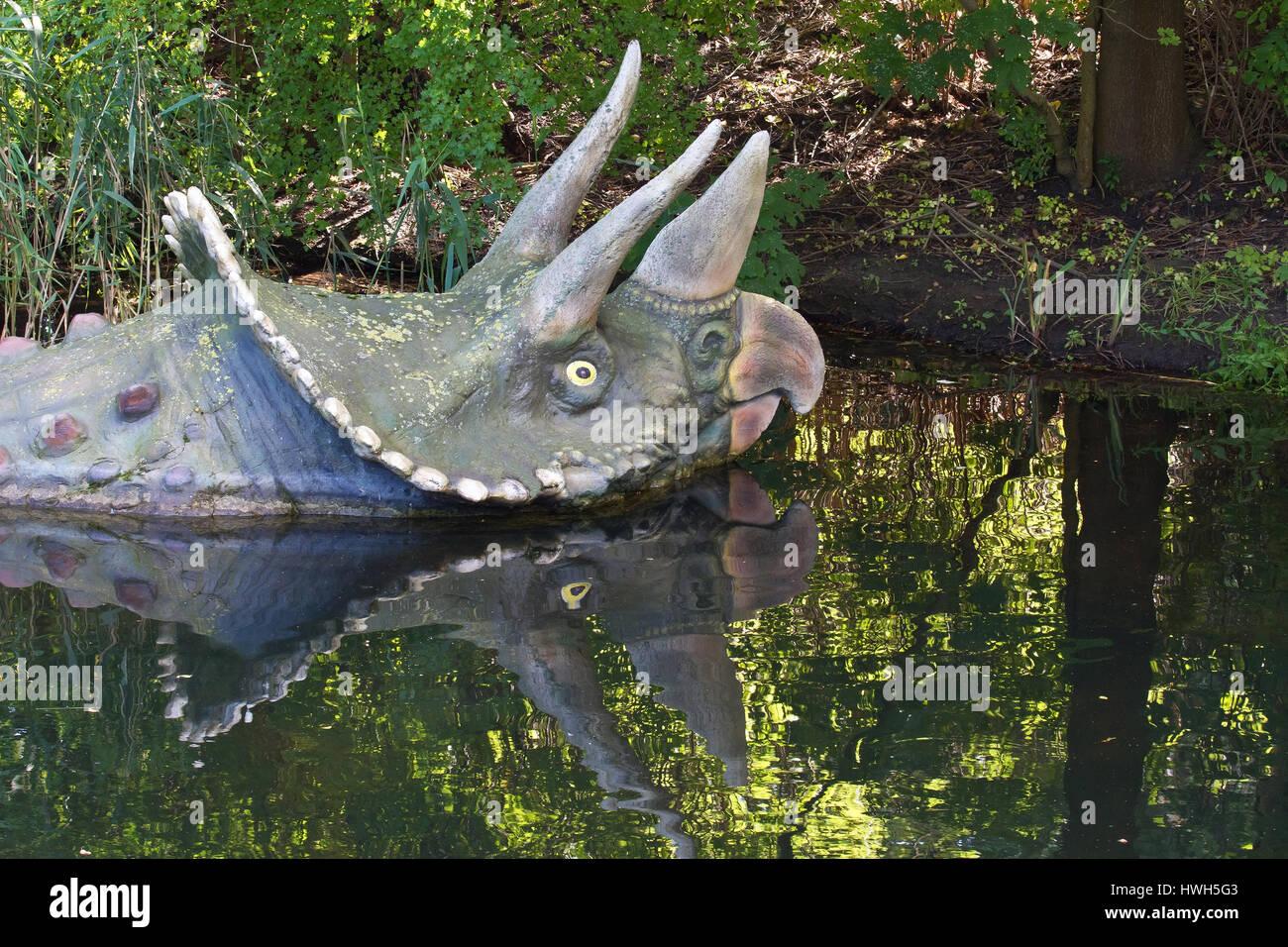 'Triceratops, Germany; Germany; Hamburg; Hagenbecks animal park; saurians; dinosaur; Triceratops; geology; geology; - Stock Image