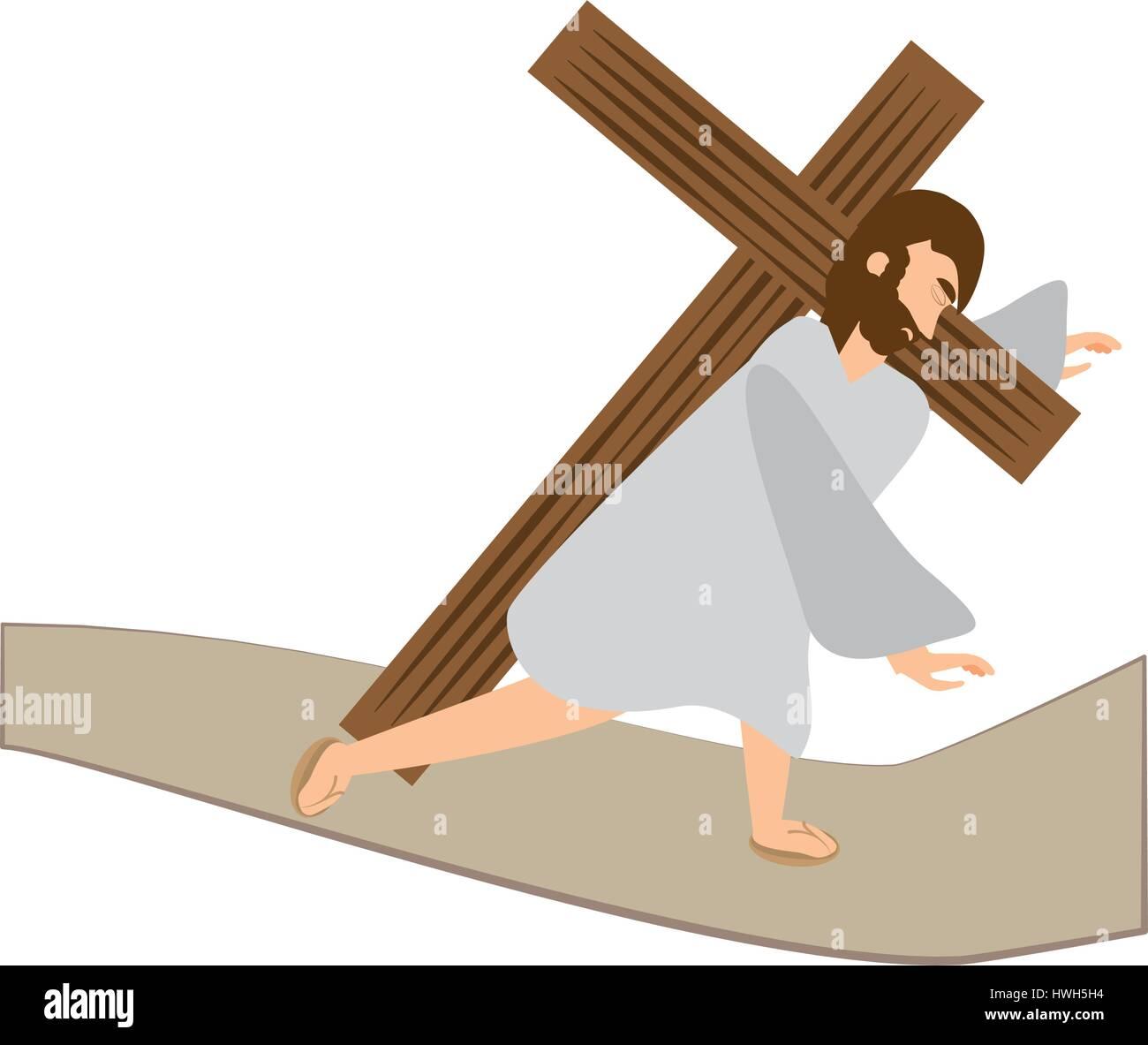 jesus christ third fall via crucis station - Stock Vector
