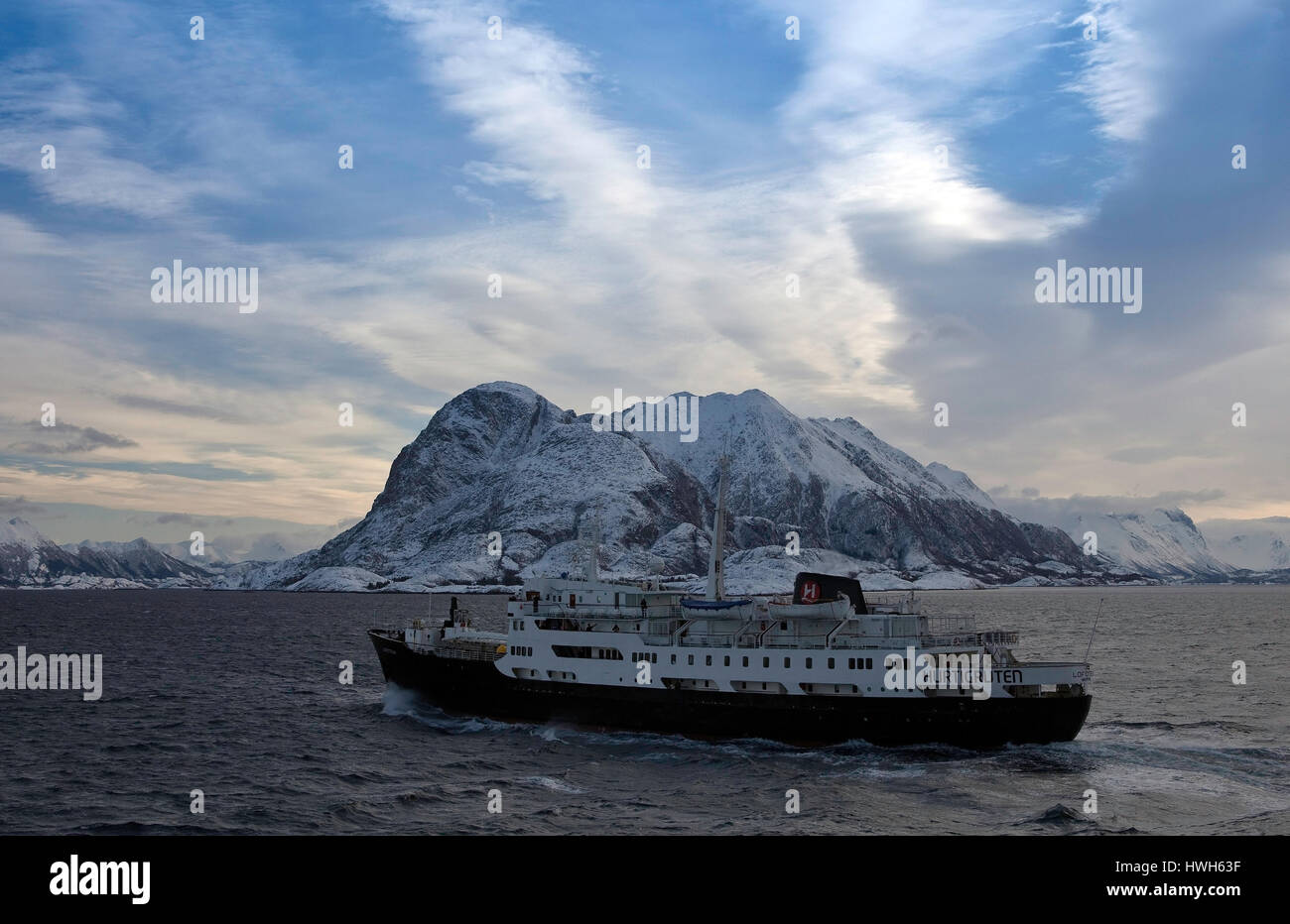 'Meeting with MS Lofoten, Norway; Norway; northern country; island; Iceland; mountains; mountains; sea, sea, - Stock Image