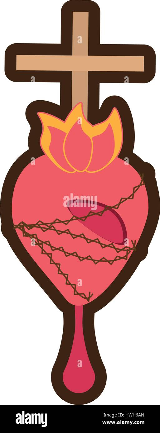 sacred heart jesus blessed line - Stock Vector