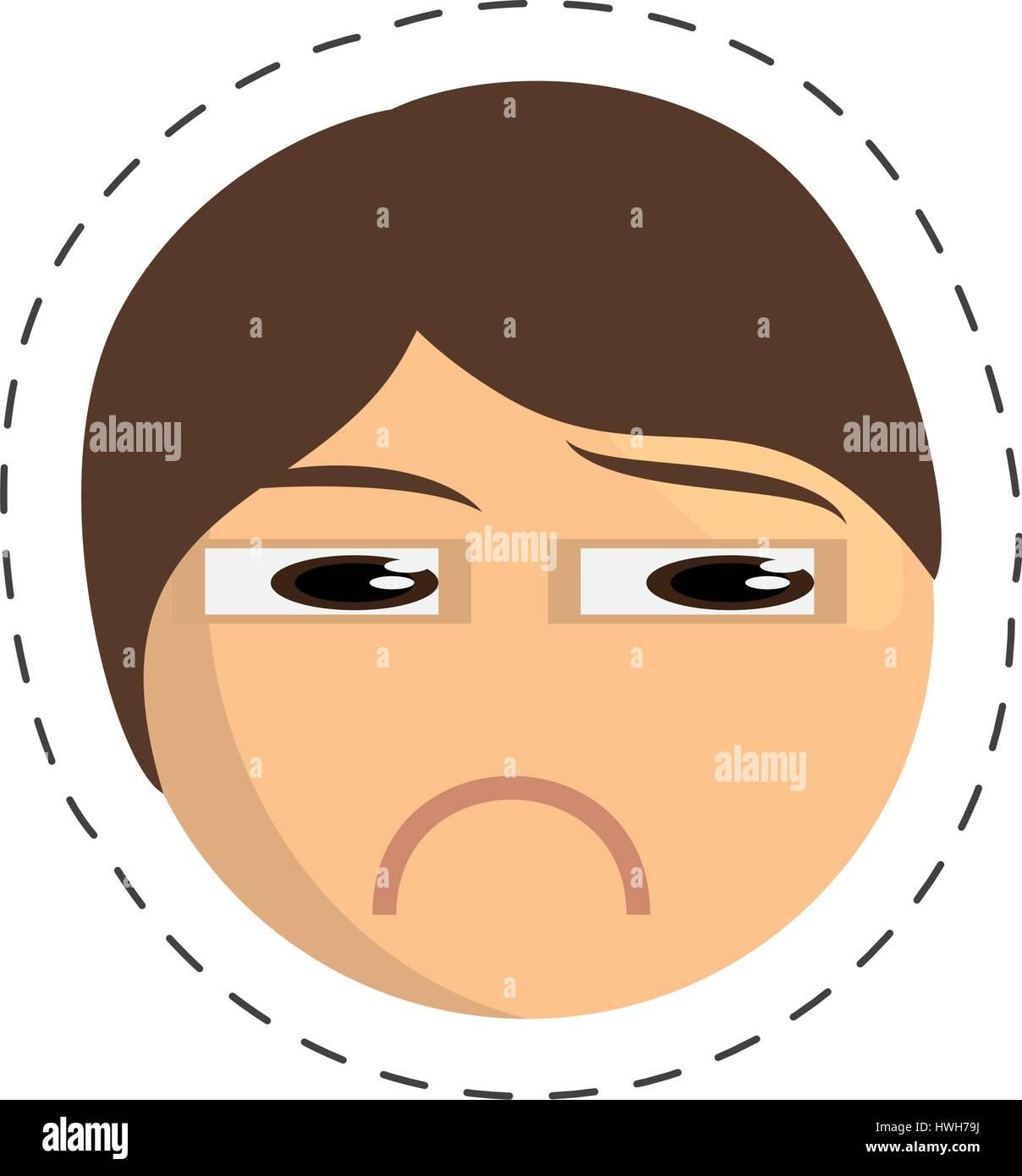 emoticon sad comic image - Stock Image