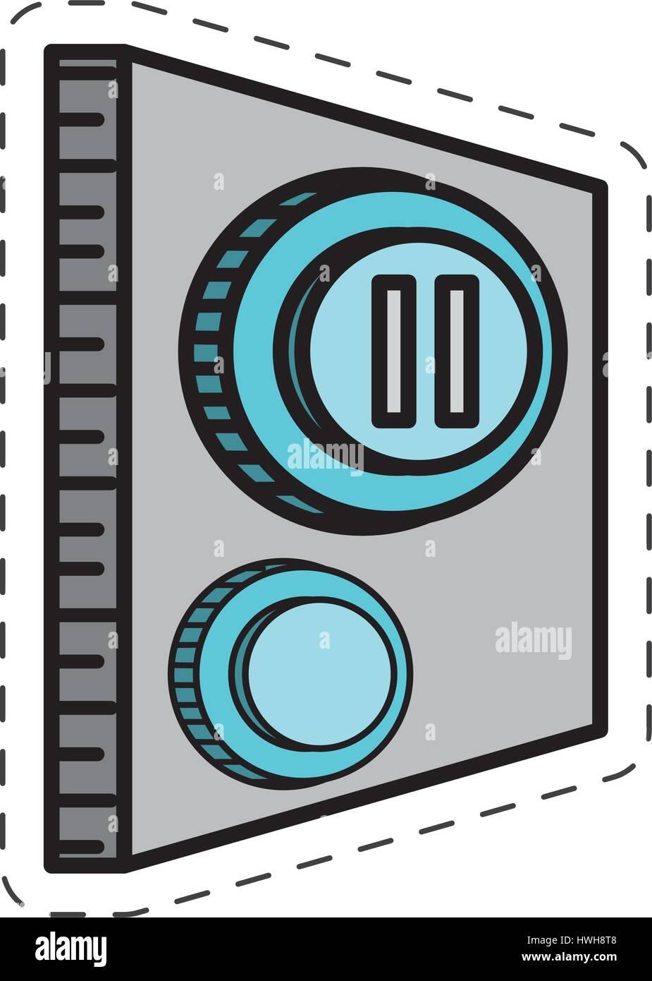 cartoon button pause control image - Stock Image