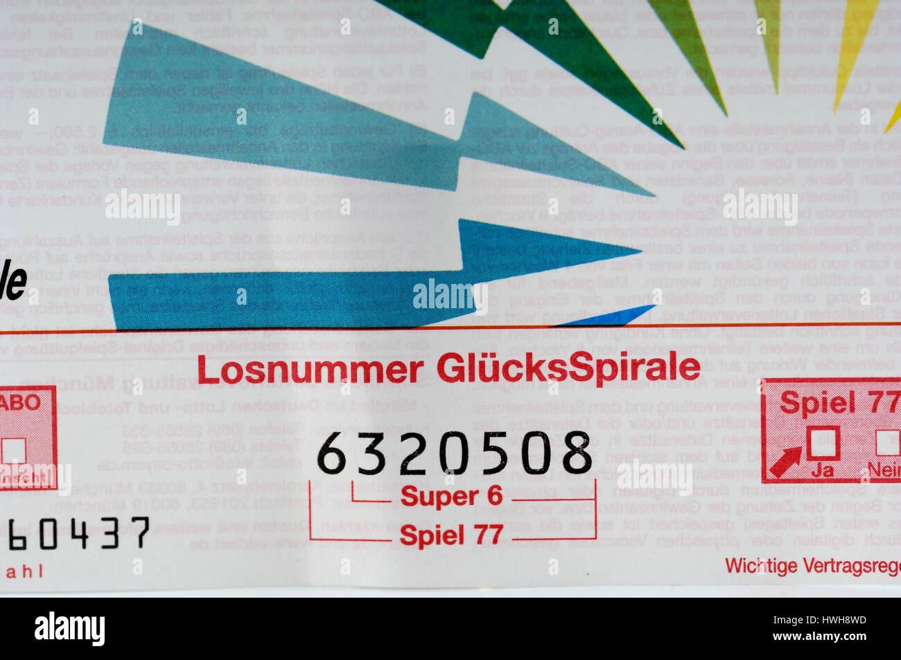 Lottery Bill Lottoschein lotto player, lotto profit, lotto system, lotto winner, lotto society, lotto profit, lotto Stock Photo