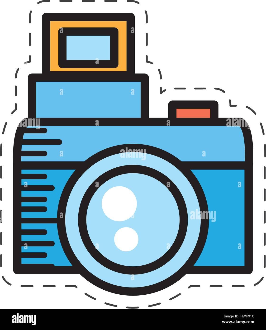 cartoon photo camera picture image - Stock Vector