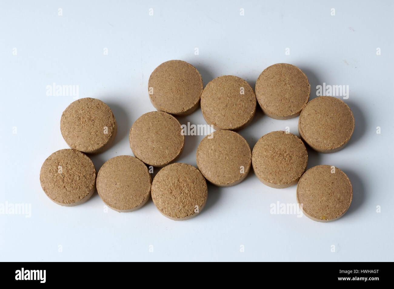 Greater Galangal pills, Alpinia galanga Galgant Presslinge Gro ? ?er Galgant, Thai ginger, inside, studio, indoor, Stock Photo