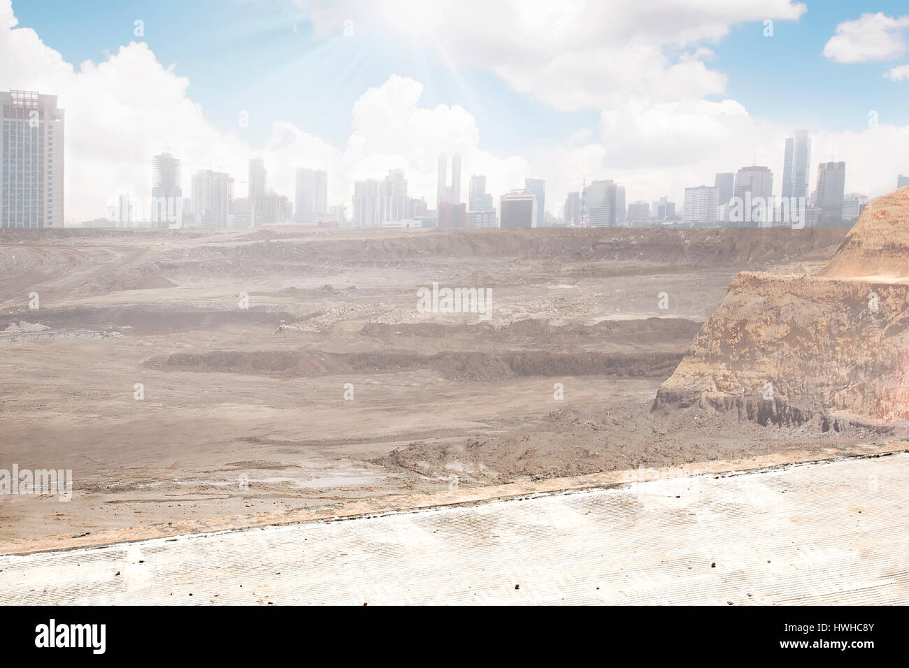 A destroyed city from far. You can use this for background for image or writing. Post apocalyptic concept. - Stock Image