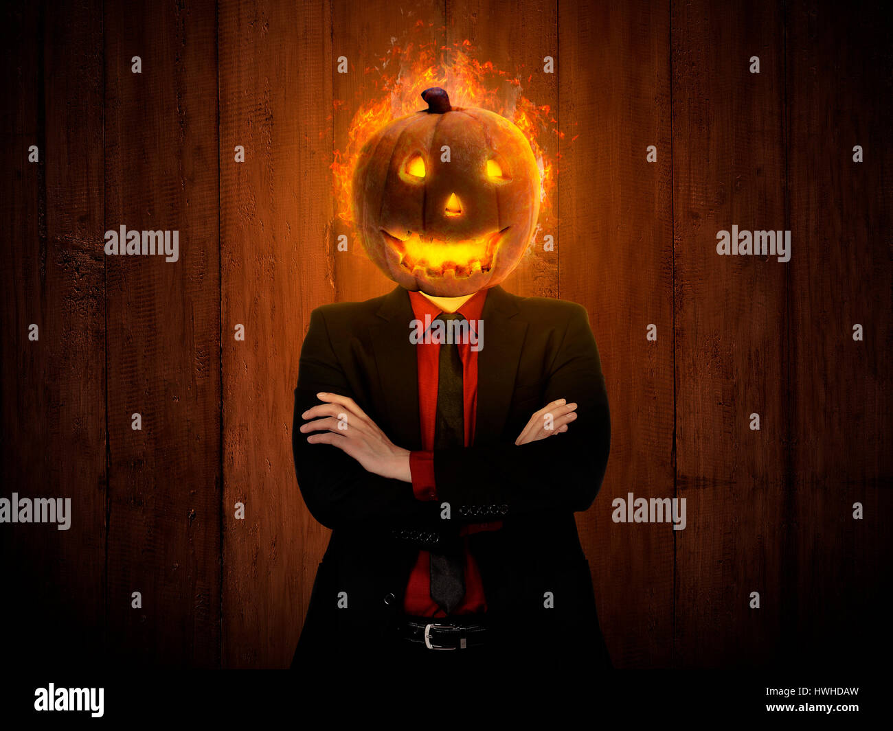 Halloween Maan.Spooky Man With Lantern Head Halloween Concept Stock Photo