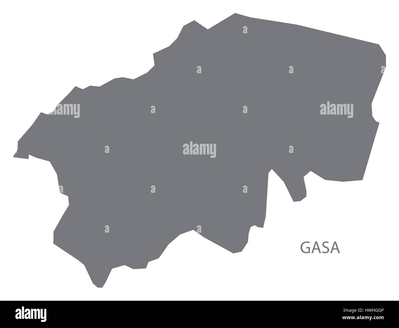 Gasa Bhutan district map grey illustration silhouette Stock Vector