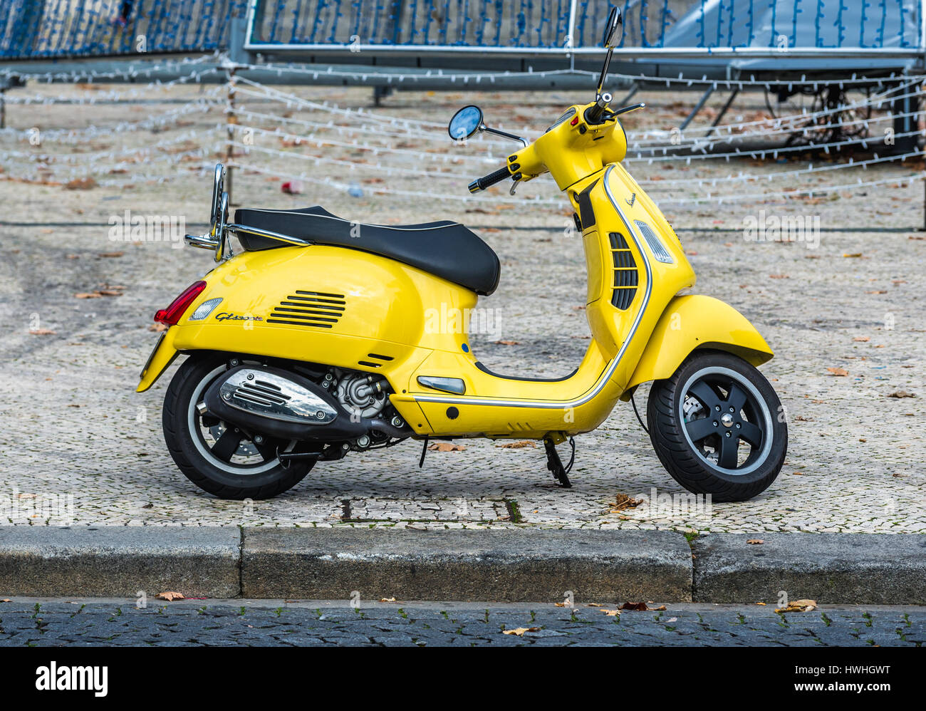 Vespa gts 300 ie motor scooter in Porto city on Iberian Peninsula, second largest city in Portugal - Stock Image