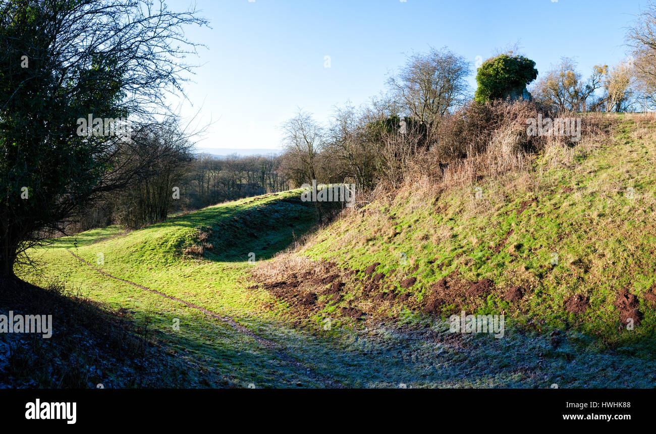 Dry moat and earthworks of ruined Kilpeck Castle in the Herefordshire Marches - Stock Image