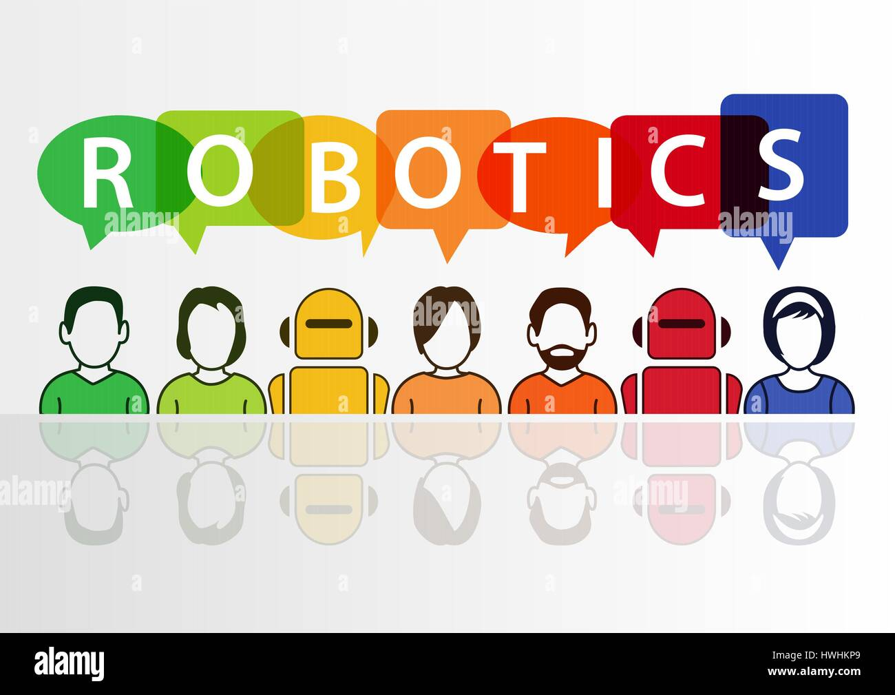 Robotics and robots concept with text on white background Stock Vector