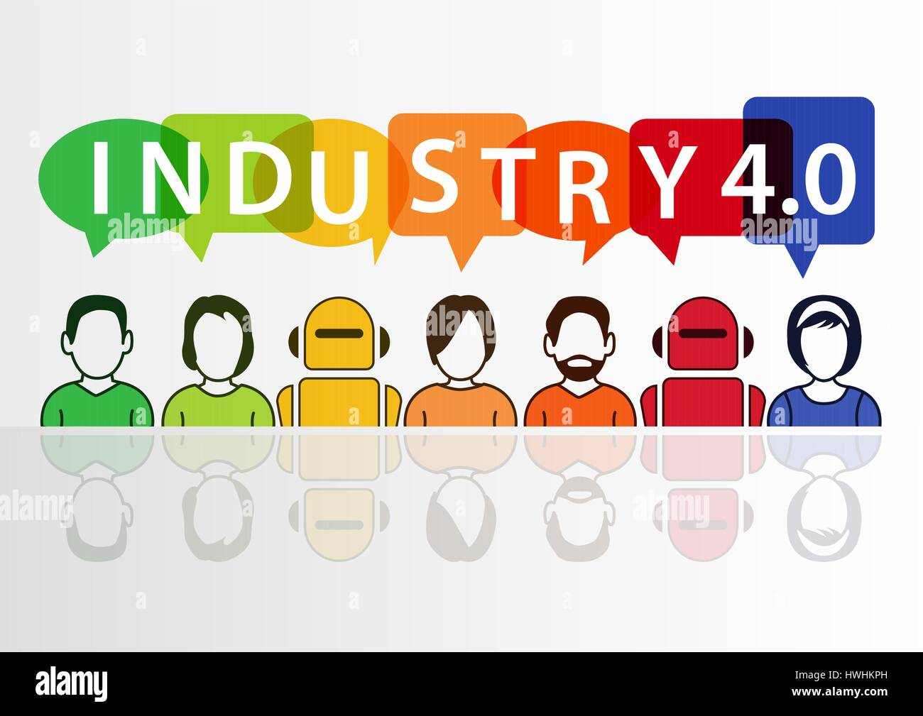 Industry 4.0 and automation concept with text - Stock Vector